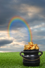 rainbow leading to pot of gold