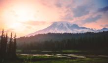 Sunset At Mt Rainier,WAshington,usa.