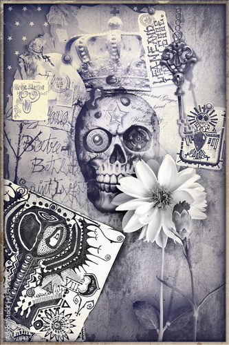 Staande foto Imagination Gothic and macabre steampunk skull