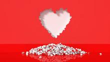 Illustration Of Heart-shaped Broken Wall