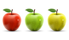 Set Of Red, Yellow And Green Apples Isolated On White Background