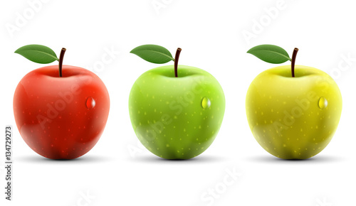 Cuadros en Lienzo Set of red, yellow and green apples isolated on white background