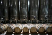 Wooden Barrels And Large Aluminum Barrels Wine Factory