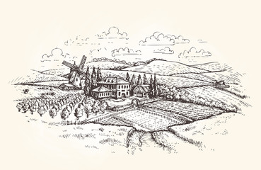Vintage landscape. Farm, agriculture or wheat field sketch. Vector illustration