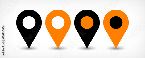 Obraz na plátně Orange flat map pin sign location icon with shadow