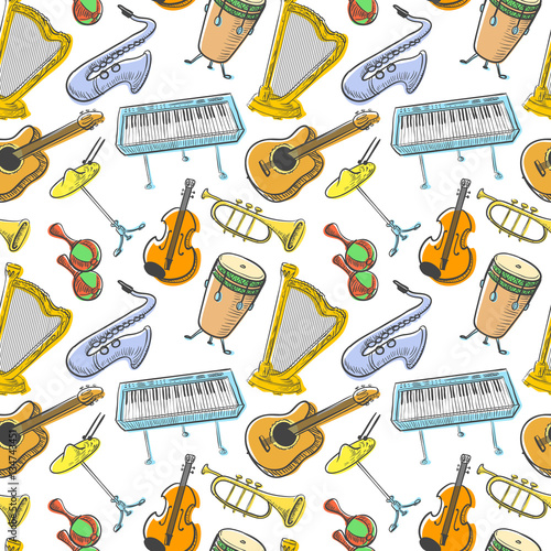 Fotobehang Indiërs Musical instruments doodle vecto rseamless pattern. Music background