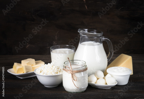 Poster Produit laitier Dairy products. Milk bottle, curd, yogurt, mozzarella, cheese.