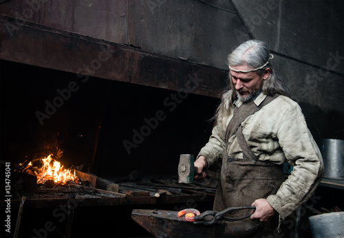 Old blacksmith forges detail in the smithy Canvas Print