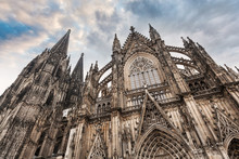 Cologne Cathedral In Cologne, Germany. Details Of The Facade. The Dom - Roman Catholic Gothic Cathedral