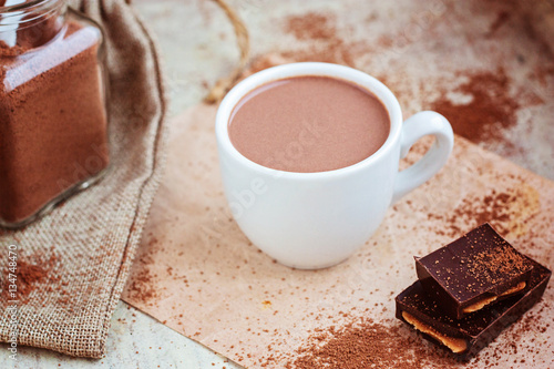 Poster Chocolade Hot chocolate selective focus