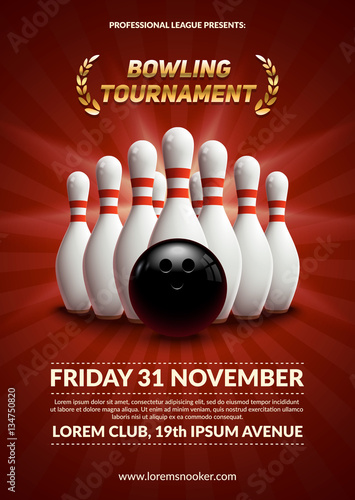 Bowling tournament poster Fototapeta