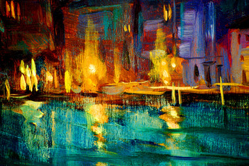 Obraz landscape to venice night , painting by oil on a canvas