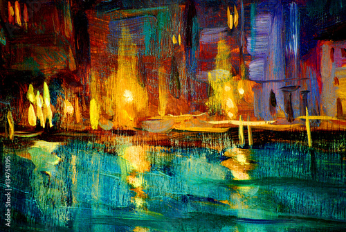 landscape to venice night , painting by oil on a canvas