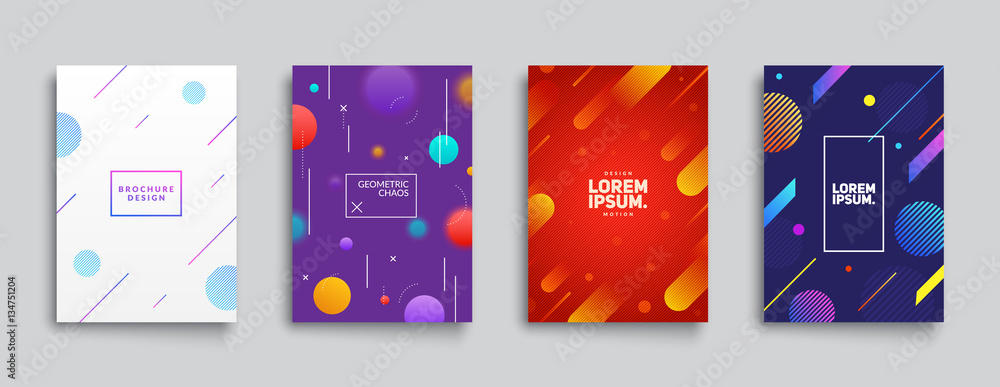 Fototapeta Covers with Flat & Dynamic Design. Geometric shapes in motion. Applicable for Banners, Placards, Posters, Flyers and Banner Designs. Eps10 vector illustration.