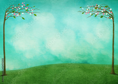 Garden Poster Green coral Spring background for greeting card or poster Easter Holiday