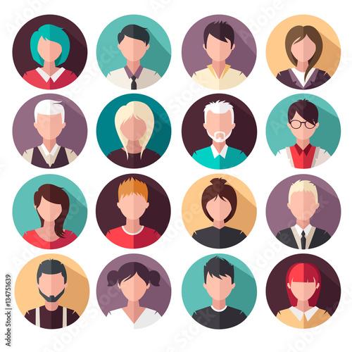 Fotografia set of vector flat icons. People icons. avatars.