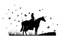 A Woman Riding An Unicorn In A Land Full Of Butterflies