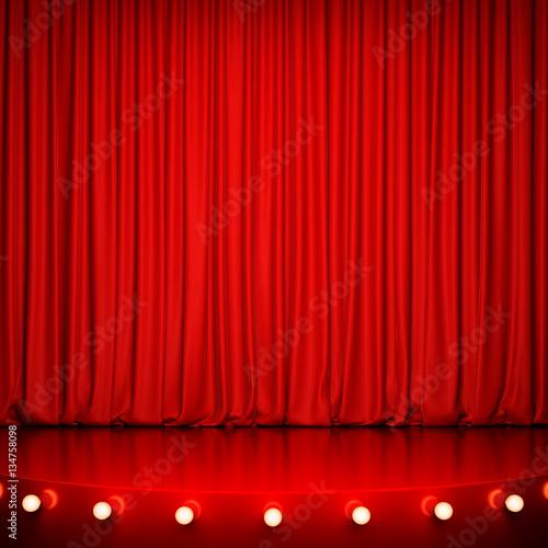 Plakat Czerwona błyszcząca scena z oświetleniem i czerwoną zasłoną. Renderowania 3D