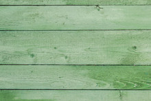Natural Weathered Wooden Planks Background. Old Painted In Green