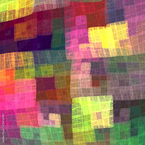 Multicolor colorful checkered pattern for the fabric. Fractal ba Fototapete
