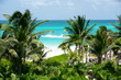 Tropical beach with coconuts tree/ resort in Riviera Maya. Mexico