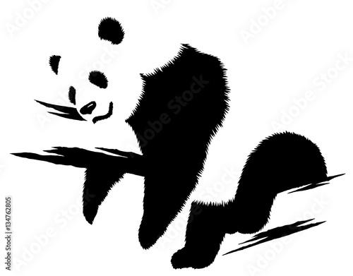 Fotobehang Draw black and white linear paint draw panda illustration