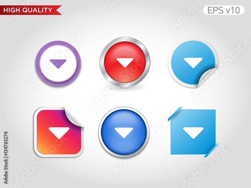 Colored Icon Or Button Of Down Arrow Symbol With Background Buy