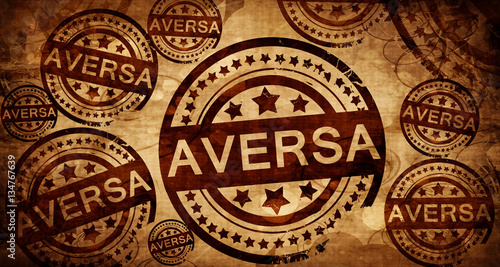 Photo Aversa, vintage stamp on paper background