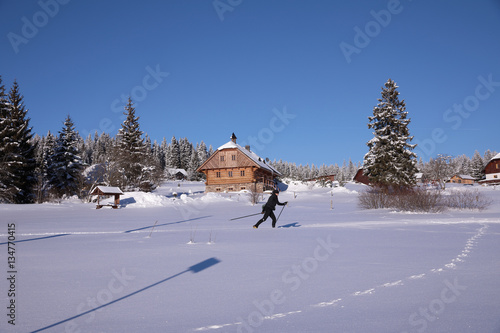 Fotobehang Winter landscape and trails for skiers