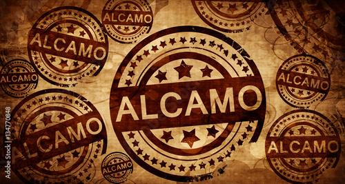 Alcamo, vintage stamp on paper background Canvas Print