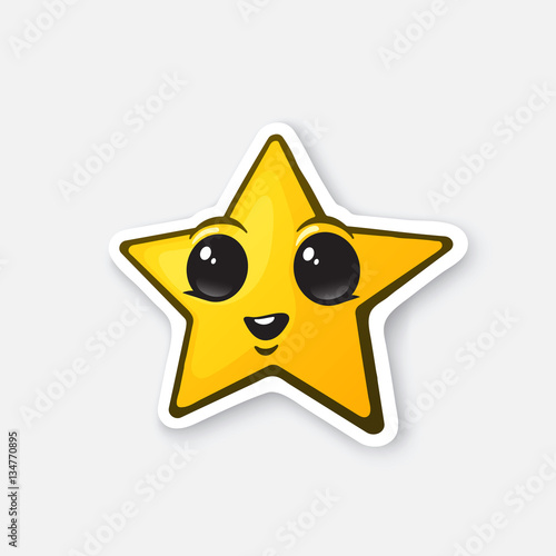 Vector Illustration Funny Gold Star With Happy Eyes Winner Sign