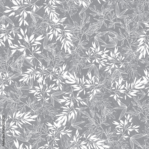 Vector Grey Blossom Branches Leaves Summer Seamless Pattern Background. Great for elegant gray texture fabric, cards, wedding invitations, wallpaper.