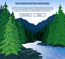 Vector Whitewater Rafting Background Theme. Extreme Travel Rafting Outdoor Trip Concept.