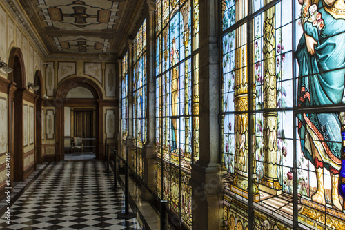 Foto auf Leinwand Schloss Stained glass windows inside the Castle of Chapultepec in Mexico City - Mexico