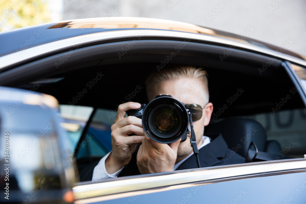 Fototapeta Man Photographing With SLR Camera
