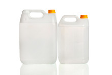 White Plastic Canister With Handle.