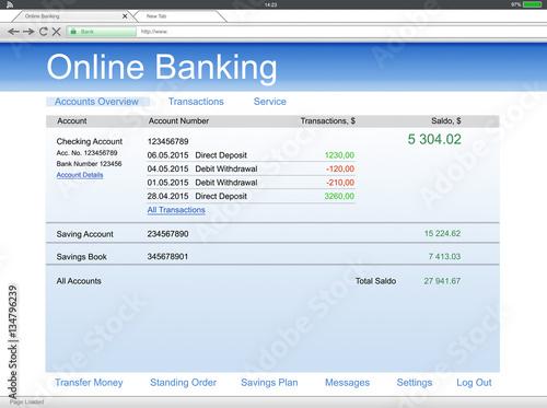 Fototapeta Close-up Of Digital Tablet With Online Banking obraz
