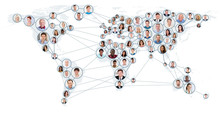 Network And Communication Concept On World Map