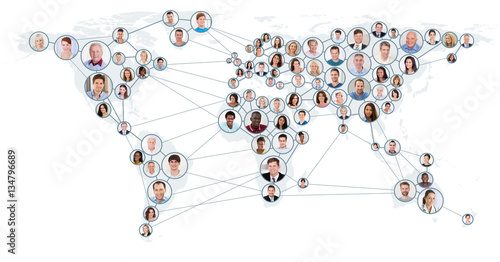 Network And Communication Concept On World Map Fototapeta
