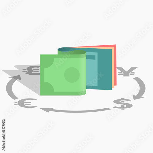 Business Finance Trading Vector Icon Glyph Solid Exchange Dollar Yen Euro Pound Currency Money Silhouette
