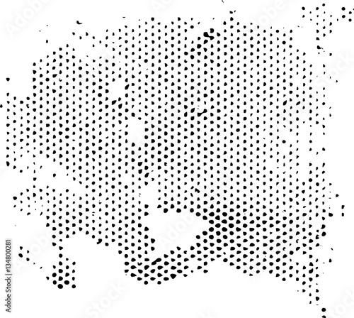 Zdjęcie XXL Rozpraszanie zwyrodniałej tekstury wzoru półtonów. Nakładka grunge tekstur wektorowych.