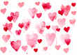 Watercolor background with painted hearts