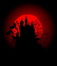 Spooky Black Castle On The Background Of The Bloody Moon
