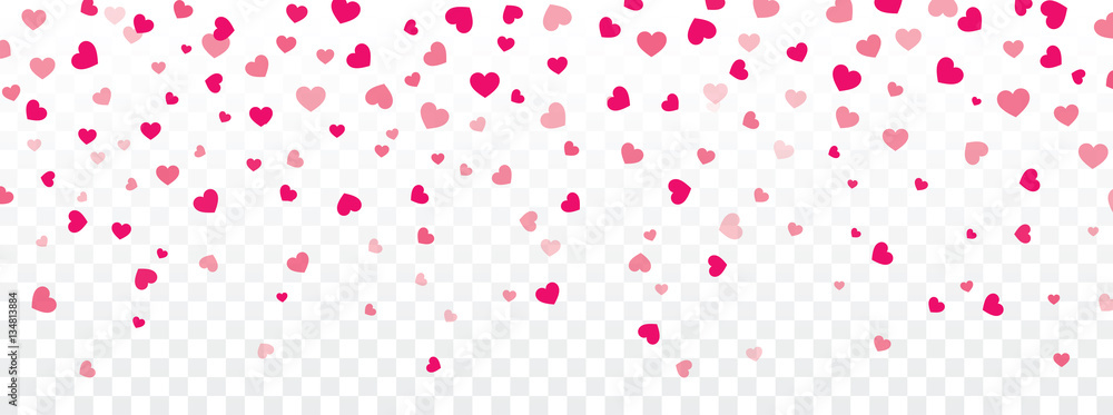 Fototapeta Valentine background with hearts falling on transparent