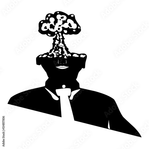 Black human silhouette with nuclear explosion on head as ...