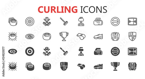 Curling game vintage badges set Poster Mural XXL