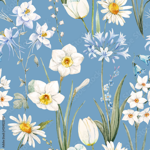 Cotton fabric Watercolor vector floral pattern