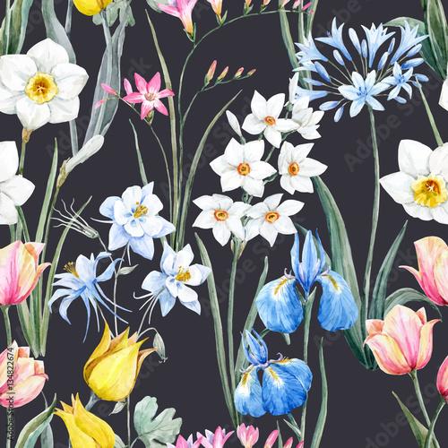 Watercolor vector floral pattern Fotobehang