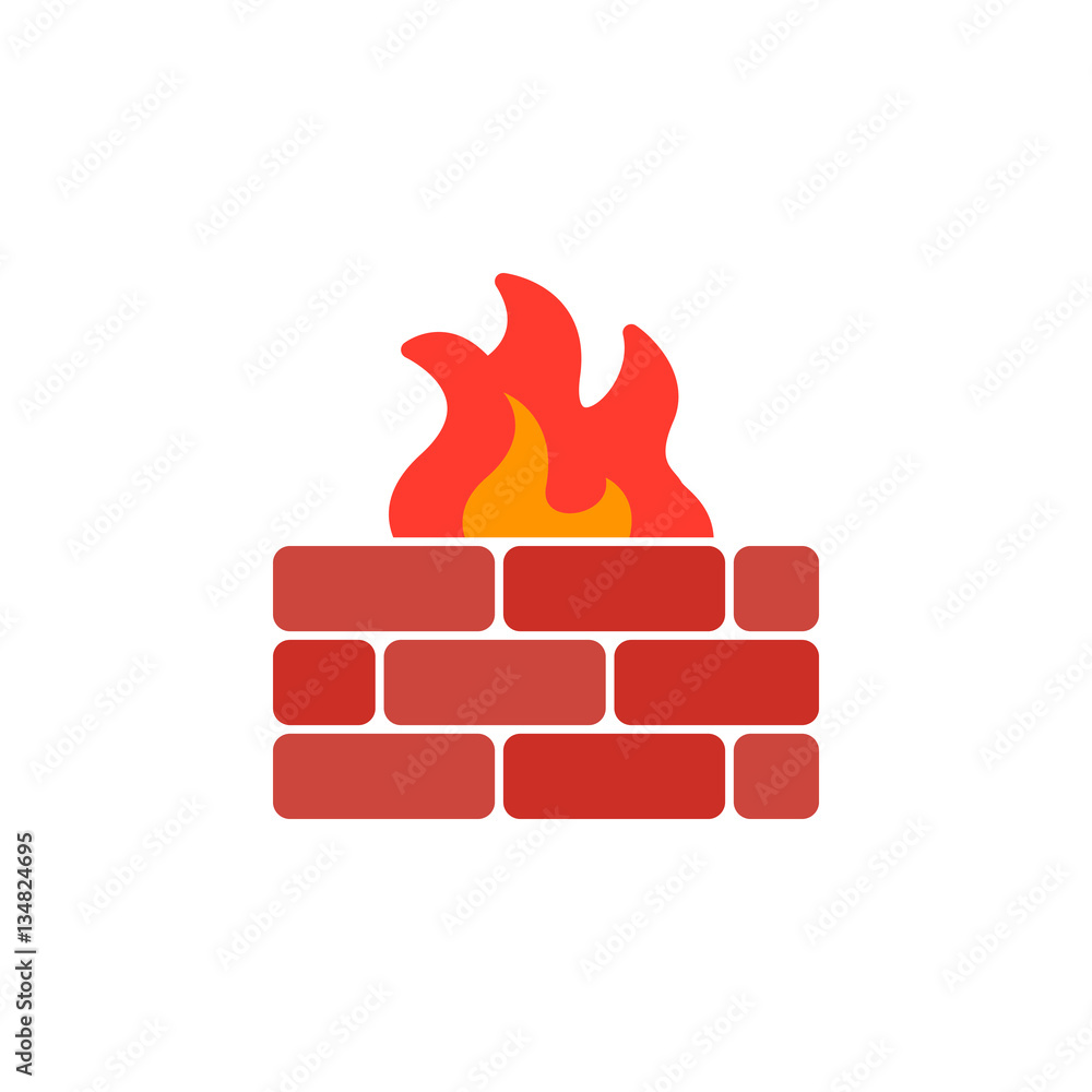 Fototapeta Brick wall and fire icon vector, filled flat sign, solid colorful pictogram isolated on white. Firewall symbol, logo illustration