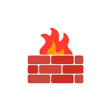 Brick Wall And Fire Icon Vector, Filled Flat Sign, Solid Colorful Pictogram Isolated On White. Firewall Symbol, Logo Illustration
